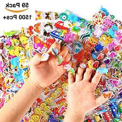 1500+ Puffy Stickers for Kids and Toddlers, 59 Different She