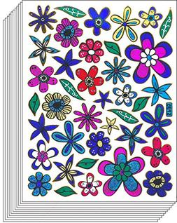 Jazzstick 250 Glitter Flowers and Leaves Scrapbook Sticker f