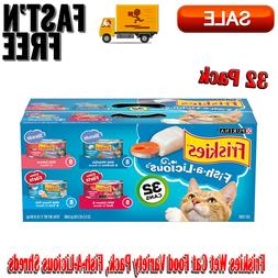 32 Pack Friskies Wet Cat Food Variety Pack, Fish-A-Licious S