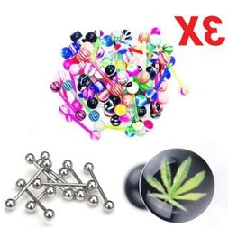 3X- Variety Pack Lot of 3 Tongue Ring Barbells
