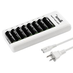 BONAI 8 Bay AA/AAA Rechargeable Battery Charger with 8 Pack