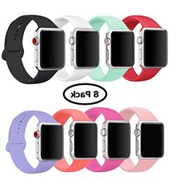 8 Pack Band for Apple Watch 38mm 42mm, Soft Silicone Sport S