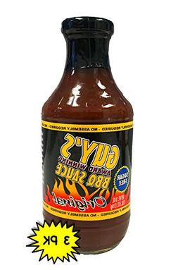 Guy's Award Winning Sugar Free BBQ Sauce 18oz Glass Bottle