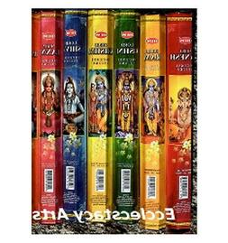 Hem Indian God Incense Variety Sampler 6 Pack of 20, 120 Sti