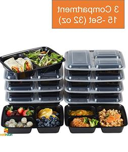 Nutribox 15 pack 32oz - three 3 compartment Plastic Food sto