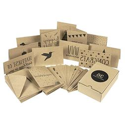 36 Pack Assorted All Occasion Kraft Greeting Cards - Include