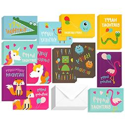 48 Pack Children Birthday Cards Unicorn, Flamingo, and Monst