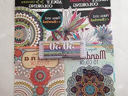 Adult Coloring Book 4 Variety Pack with Two Tone Pencils