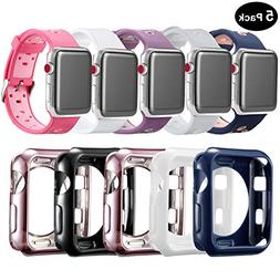 Compatible Apple Watch Band with Case 38mm , MAIRUI Silicone