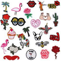 Iron On Patches 24 Pieces - Assorted Cool Patches Fabric Emb