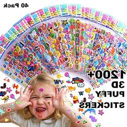 Kids stickers 1200+, 40 different Sheets, 3D Puffy Stickers