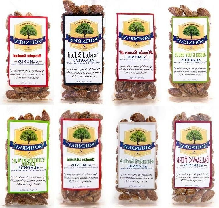 8-Pack Flavor Variety of Roasted Almonds Sohnrey Family Food
