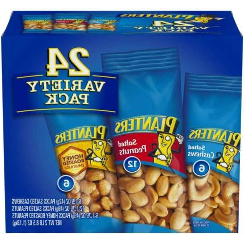 Planters Variety Pack 24 ct Salted Cashews Peanuts & Honey R