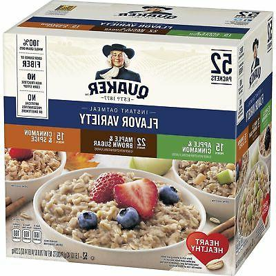Quaker Instant Oatmeal Variety Pack, 52 Ct Ships to PR, VI,