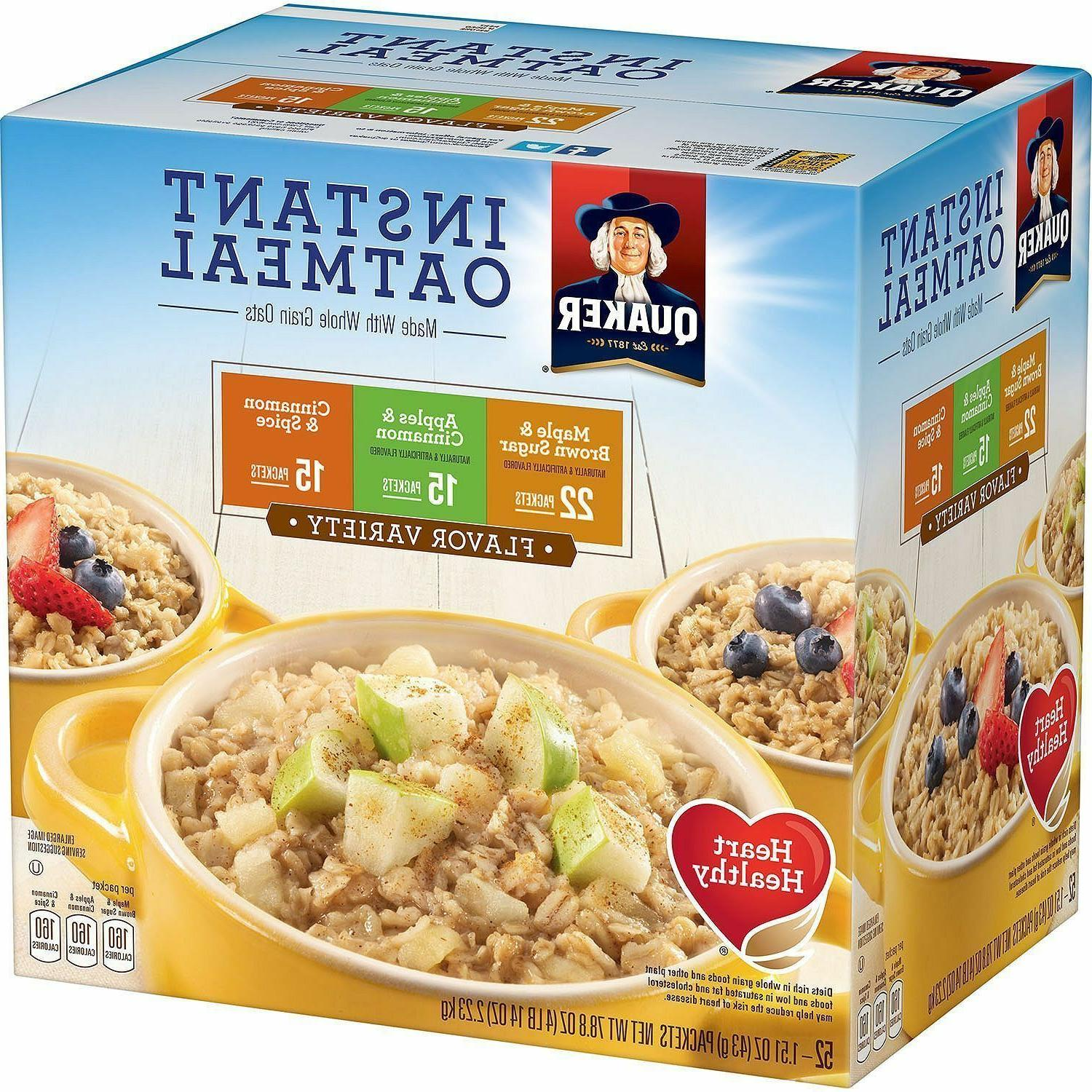 Quaker Instant Oatmeal Variety Pack Maple Brown Sugar Apple