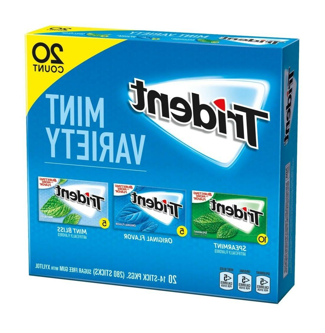 Trident Sugar-Free Gum Mint Variety Pack 20 Count - GUARANTE