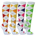 White Argyle Ladies Colorful Variety Design Assorted Knee Hi