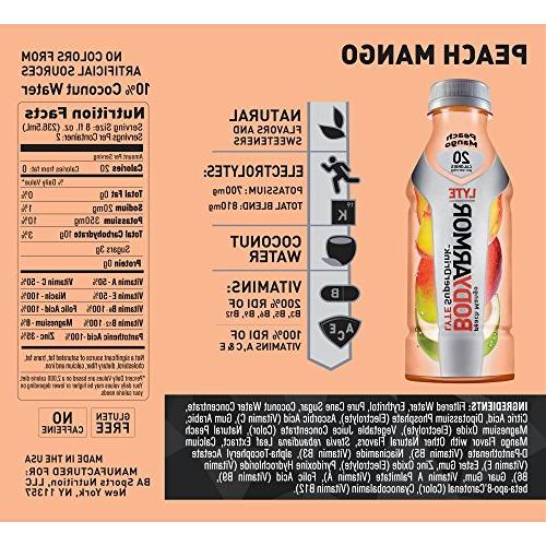 BODYARMOR Sports Low-Calorie Peach Mango, Fl , Natural Vitamins, Electrolytes, Preservatives, Perfect For