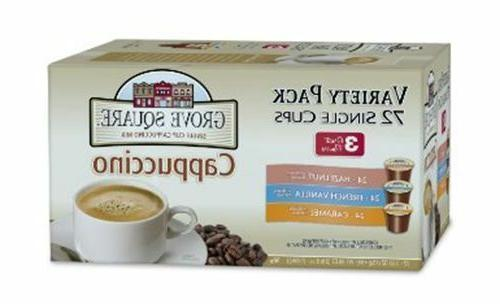 Grove Square Cappuccino Variety Pack, 72-Count Single Serve