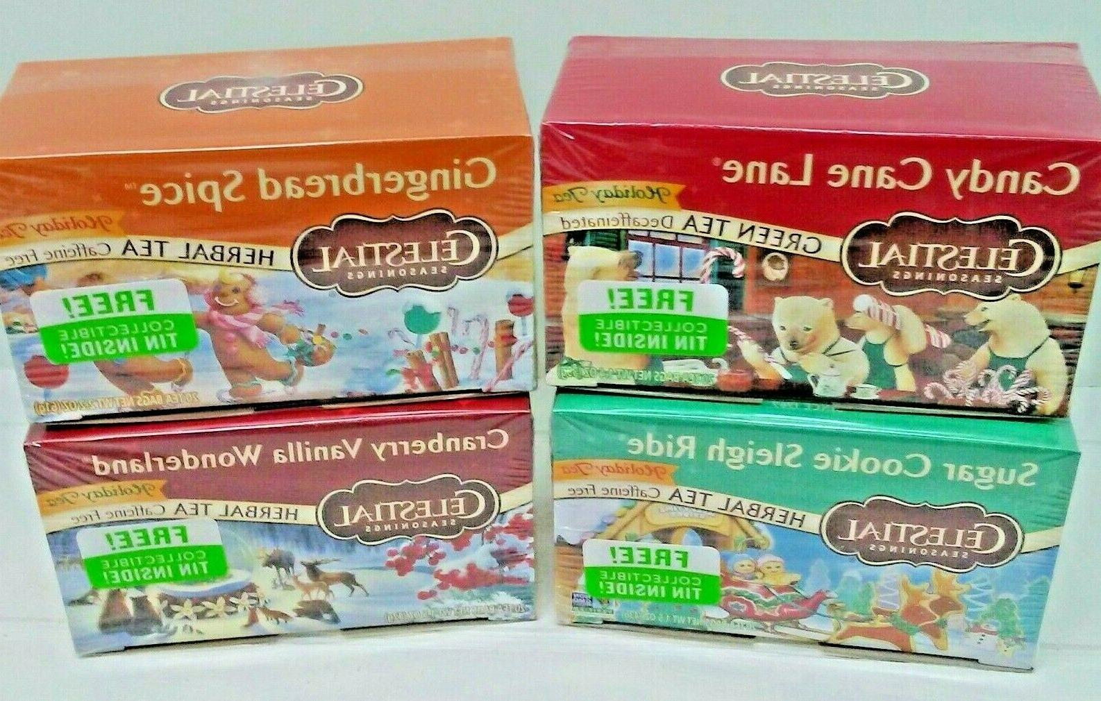 holiday tea variety pack collectible tin four