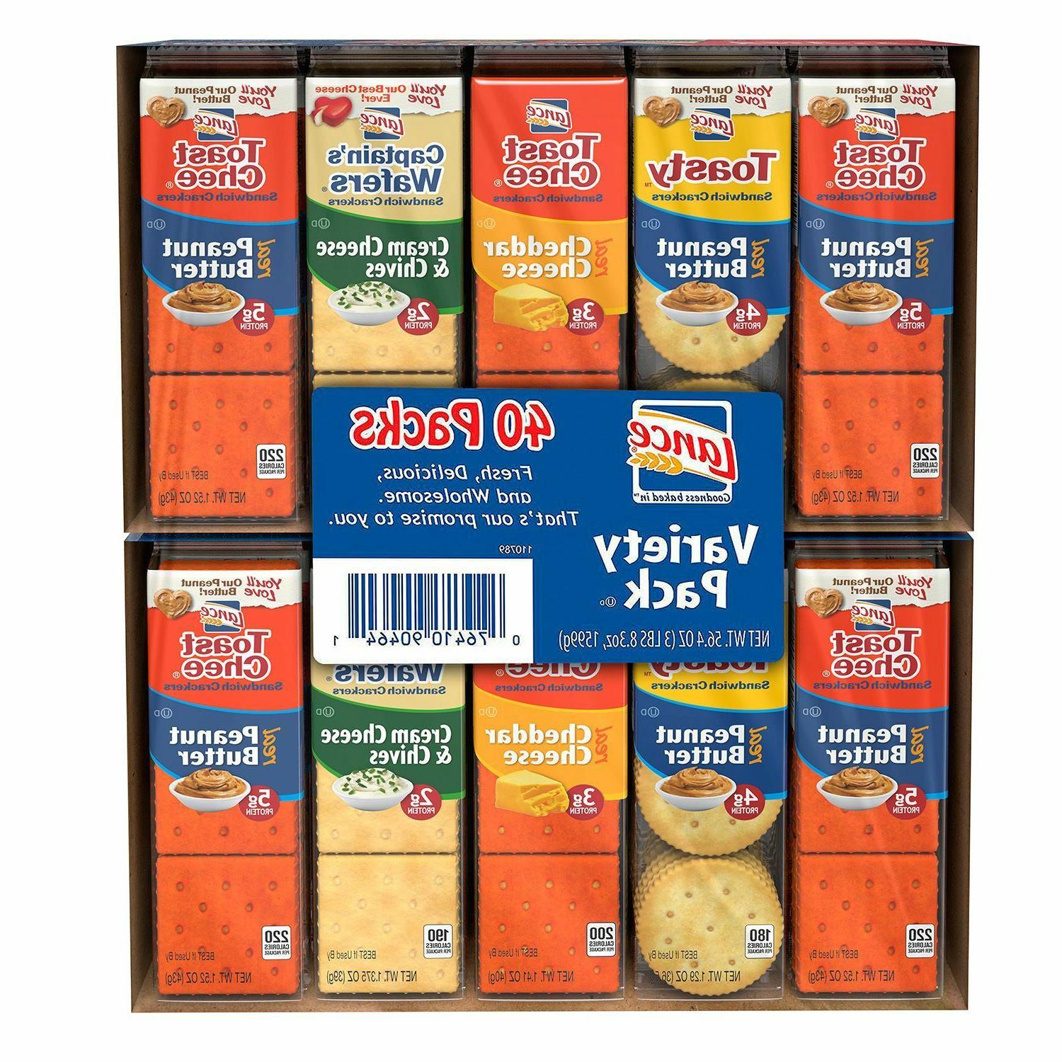Lance Sandwich Crackers Variety Pack 2 Boxes x 40 = 80 Packs