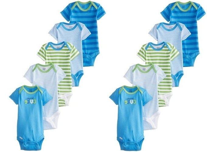 LOT OF 2 PACKAGES Gerber Baby Boys 5 Pack Variety Bodysuits