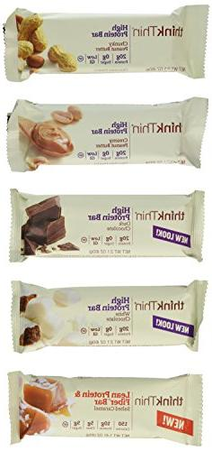 Think Thin Variety Pack 10 Mix Bars 2.1oz ea: 2 bars of Whit