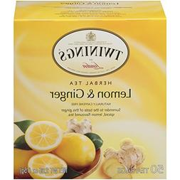 Twinings Lemon and Ginger Tea 50 count Tea Bags