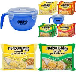 Maruchan Ramen Variety 4 flavors, Pack of 12 + By The Cup Mi