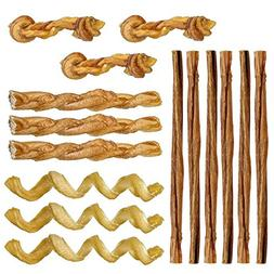 Mini Bully Stick Variety Pack - 15 Low-odor Bully Sticks for