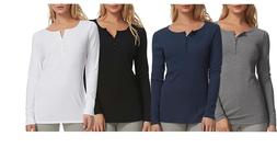 NEW Felina 2 Pack Women's Long Sleeve Rib Knit Henley Tee -