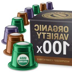 Organic Variety Pack: 100 Nespresso Compatible Capsules. Org