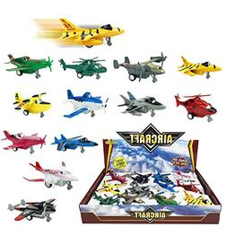 Set of 12 Pull Back Airplanes Vehicle Playset - Variety Pack