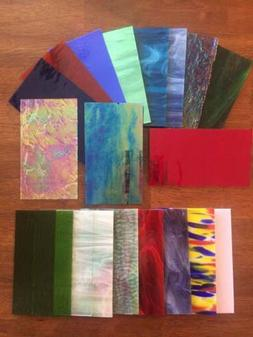 "Stained Glass Sheet Variety Pack of 20- 7"" X 4"" Pieces of Pr"