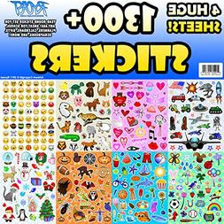 Sticker Sheet Assortment Set, 1300+ Stickers, Year Round Var