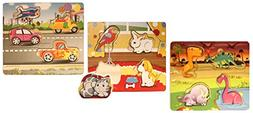 Set of 3 Variety Pack - Toddler Puzzle Set - Wood Preschool
